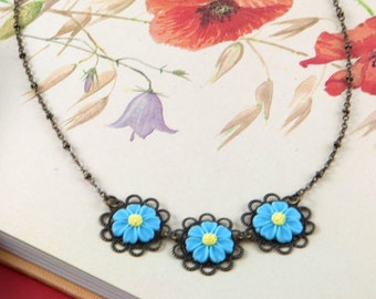 Forget Me Not Necklace - Wildflower Jewellery - Forget-Me-Not Jewellery