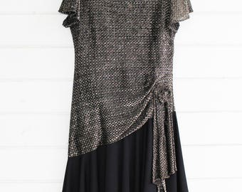 Vintage 80s 90s Dress Womens Metallic Formal // Prom // Party // Costume