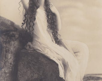 Long-Haired Ethereal Beauty 3, Vintage German Postcard by Rotophot, circa Early 1910s