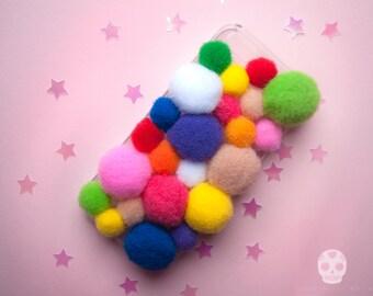Pom Pom Phone Case -rainbow glitter fluffy cute kawaii iPhone 4/4s 5/5s SE 6/6S 7 PLUS Samsung Galaxy S3 S4 S5 S6 LG G3 G5 ipod Touch 4 5 6