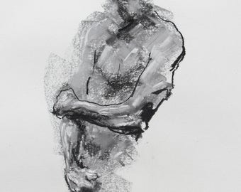 """Expressive Black and White Male Figurative Art  - 11 x 14"""",  fine art - Drawing 159 - charcoal and pastel on paper - original drawing"""