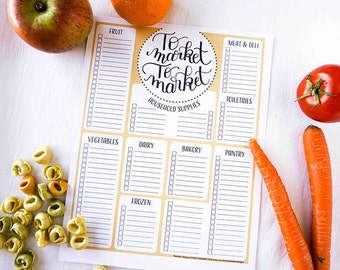 Meal Planner and Grocery List, Editable PDF, Printable Planner Pages, Shopping List Printable, Grocery List Template, Printable Grocery List