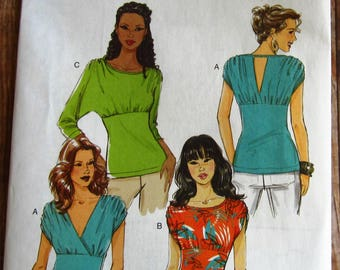 Easy to Sew Misses Tops with Sleeve and Neckline Variations Sizes 14 16 18 20 Butterick Pattern B5497 UNCUT