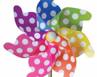 Pinwheels Polka Dot Yard Pinwheels Rainbow Birthday Party Favors ONE Polka Dot Pinwheel Birthday Favors Party Decoration Garden Art