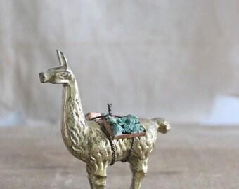Vintage Solid Brass Llama Figurine Pack Animal