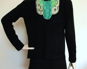 Emerald City Art Deco Applique Cardigan - with vintage fabrics