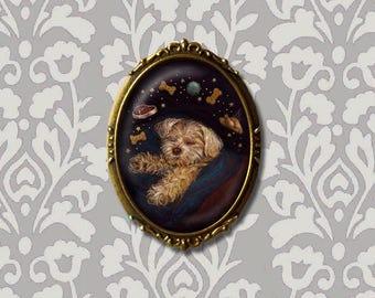 Dog Brooch Dreaming, Dog Pin, Dog Art, Dog Lover's Gift, Maltese, White Dog, Stocking Stuffer, Secret Santa Gift, Christmas Pin