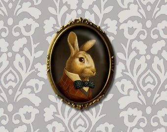 Rabbit Portrait Brooch - White Rabbit Pin - March Hare - Bunny - Easter - Oval Pin - Victorian Rabbit