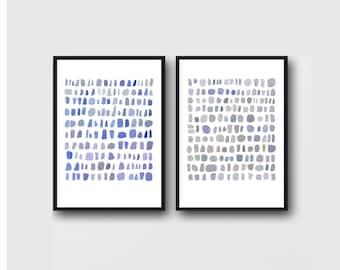 minimal art, set of 2 Watercolor paintings, abstract paintings, watercolor prints, watercolor blue white grey art
