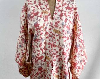 Japanese Pink Blossom Kimono Blouse