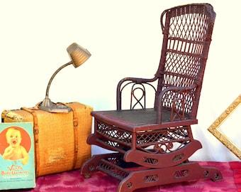 Antique Victorian Wicker Rocking Chair: Vintage Burgundy Wooden & Woven Cane Platform Rocker with Leather Seat