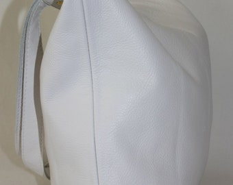 Large White Leather Tote Bag with Red Lining, Large Leather Tote Bag, Leather Tote Bag, Leather Bag  *** JUST LOWERED***