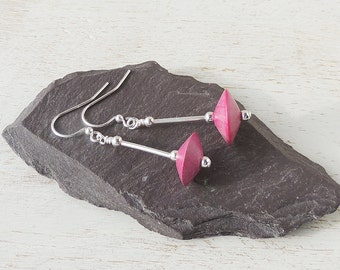 Pink Wood Silver Earrings, Bright Pink & Silver Drop Earrings, Beaded Earrings, Wood Jewellery, Pink Jewellery, UK, 1634