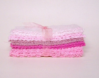 CHENILLE PATCHWORK 6 Inch SQUARES, Vintage, Pretty Pinks, Quilting, Craft, Toymaking