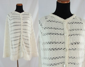 SALE Vintage Seventies Shall - 1970s White Knit Cape - 70s Bright White Acrylic Knit Poncho with Fringe