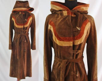 SALE Vintage Seventies Jacket - 1970s Brown Suede Hooded Coat - 70's Toggle Button Leather Jacket - Long Leather Coat - Small Vintage Coat
