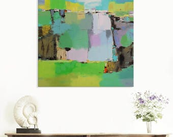 Vertical canvas waterfall painting andscape artwork relax painting colourful wall art meadow painting intuitive artwork nature inspired art