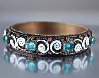 Czech Antique Austro Hungarian Bracelet Bangle Enamel and Paste Stones Large Folk