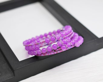 Purple Bracelet, Memory Wire Wrap Bracelet, Light Purple, Seed Bead Bracelet, Wrap Bracelet, Memory Wire Bracelet, Purple Jewelry, For Her