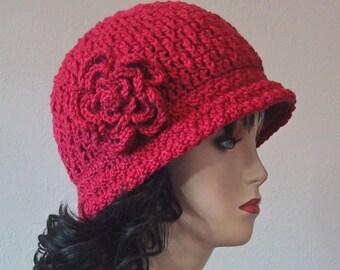 Ladies Cloche Hat w/Flower Raspberry Color - Size Small/Medium - Soft Acrylic Yarn - Hand Crocheted - Handmade - Great Chemo Cap - Nice Gift