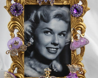 Gorgeous Fashion Inspired, Rhinestones and Crystals on a Gold Ornate Picture Frame, All Occasion Gift