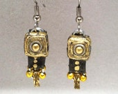 Paper jewelry - First anniversary gift - Gold / gray / chrome earrings