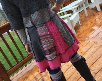 Upcycled Refashioned Sweater Dress Tunic and Boot Toppers Ladies size M Medium  OOAK