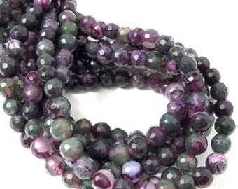 Green and Purple Fired Agate, 6mm, Round, Faceted, Gemstone Beads, 15 Inch Strand - ID 733