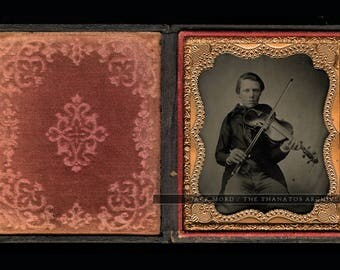 Excellent 1/6 Ambrotype of a Young Violinist