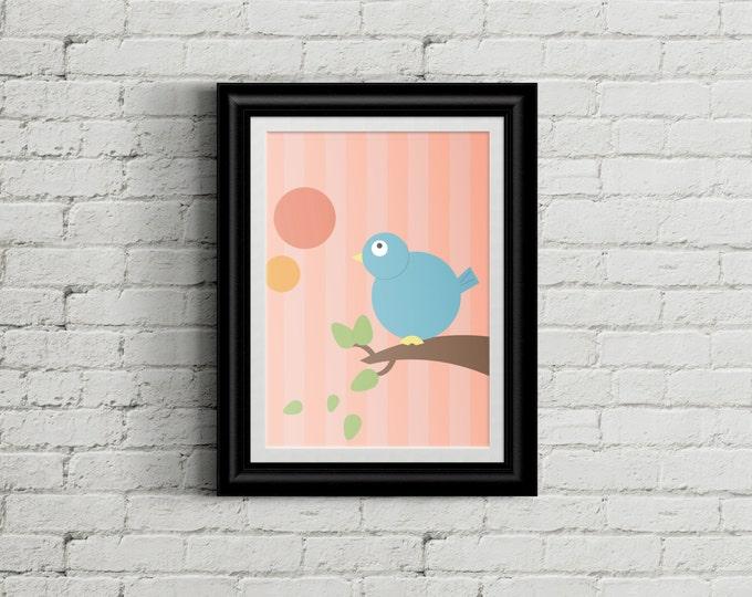 Adorable Bird Children's Nursery Wall Art Print Decor