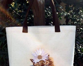 Tote Bag - Orange Kitten with Daisy