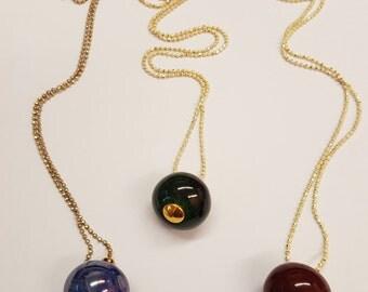 Ceramic ball necklace, Long necklace, Long pendant necklace, Minimal necklace