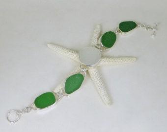 Green And White Sea Glass Bezel Bracelet Maine