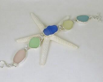 Pastels Sea Glass Bezel Bracelet Maine