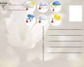 Weather stickers III for Postcrossing, planners, child activities or scrap booking stickers. Set of 30