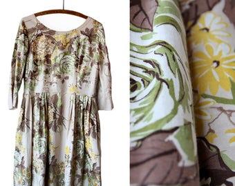 Vintage 1950s Handmade Cotton Garden Dress | Size Medium / Large