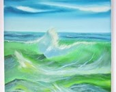 Bob Ross Style Oil Painting Landscape Original Signed Oceanscape Seascape Beach Wave Water Seaside 16x20