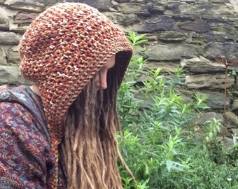 Woodland Hood Unisex, Crochet Pixie Hood, Dread Snood, Scoodie