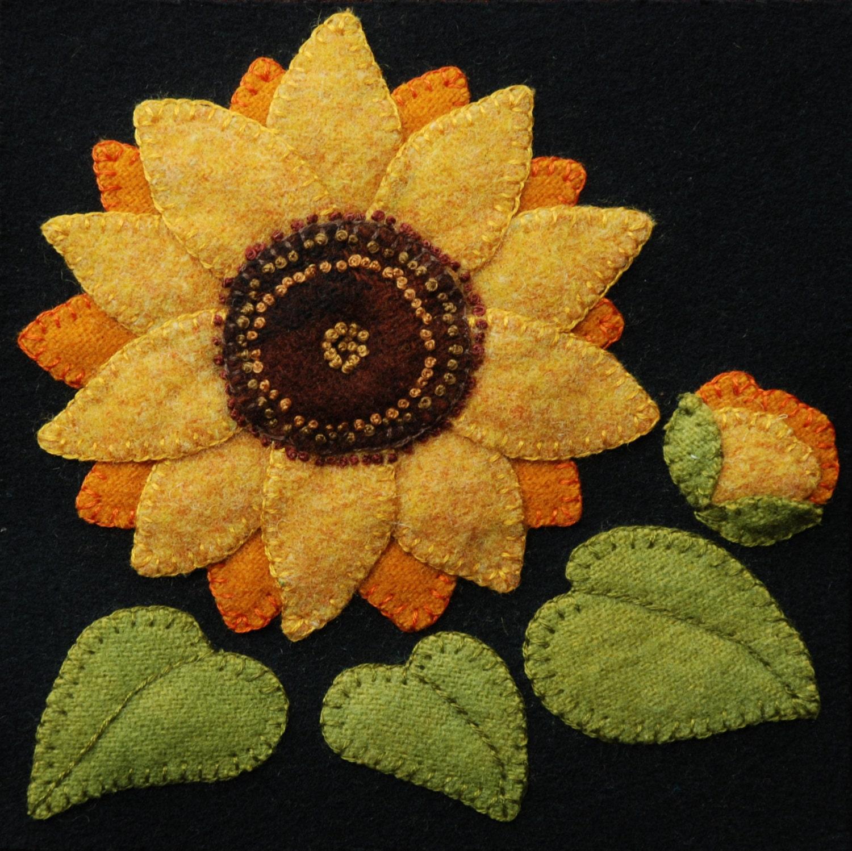 Wool Applique Bom Pattern Amp Or Kit Sunflower 6x6