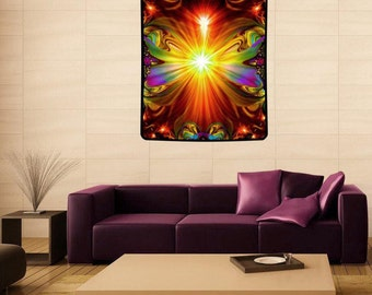 "Psychedelic Tapestry, Reiki Healing, Chakra Art, Unique Decor, Meditation Art,  ""Light Being"" 40"" x 50"""