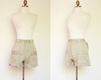 vintage 1980s khaki high waisted shorts / 80s Sea Palms tan shorts with pockets / S