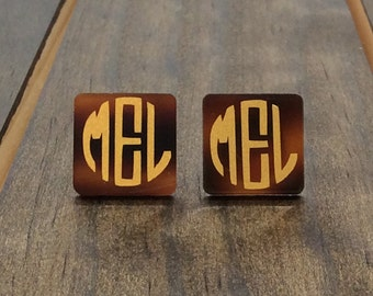 Monogrammed Earrings Studs -Tortoise Shell Earrings -Monogrammed Acrylic Earrings - Tortoise Monogrammed Earrings - Square Acrylic Earrings