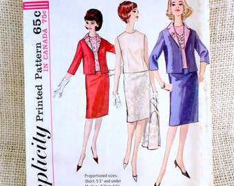 Vintage Pattern 1960s Simplicity 5577 Sewing Two piece dress suit Stewardess First Lady Jackie Kennedy Bust 32 jacket shell pillbox