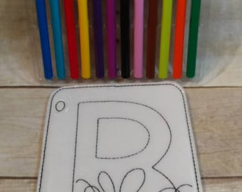 Letter B, Bee Reusable Coloring Page, Felt Coloring Page, Vinyl Coloring Pages, Children's Coloring Pages, Birthday Gift, Holiday Gift