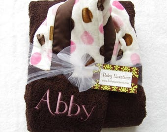Personalized baby Towel with hood - Toddler Towel - Baby Towel - Brown white & baby pink minky - brown ribbon - Monogrammed Baby Shower Gift