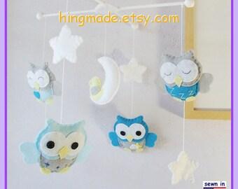 Baby Mobile, Baby Crib Mobile, Owl Nursery Decor, Owl Mobile, Peacock Aqua Gray Nursery, White Stars and Moon Cot Mobile