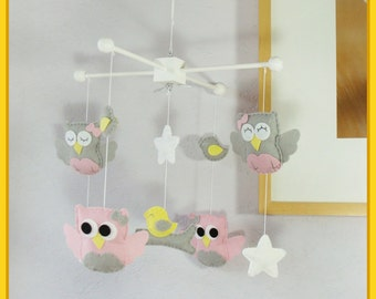 Baby Mobile,Owl Mobile,Ceiling Hanging Mobile, Owls and Birds Mobile, Pink Yellow and Gray Nursery Decor