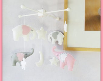 Baby Crib Mobile, Nursery Decor, Elephant Mobile, White Mobile, Starry Night Mobile, Gray White Pink, Custom Mobile