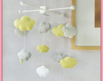 Clouds Mobile, Baby Mobile, Clouds Nursery Mobile, Modern Nursery Decor, Neutral Baby Room Decor, Yellow Gary and White Mobile