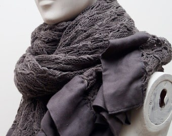 Grey lace scarf- boho scarf- bohemian scarf- winter scarf